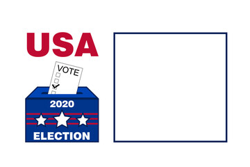 blank white background 2020 usa american election voting ballot box graphic