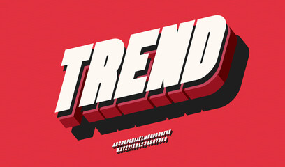 Vector trend font 3d bold color style modern typography for poster, event decoration, motion, video, game, t shirt, book, banner. Cool typeface. Trendy alphabet. 10 eps