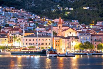 Town of Makarska waterfront and Biokovo mountain evening view