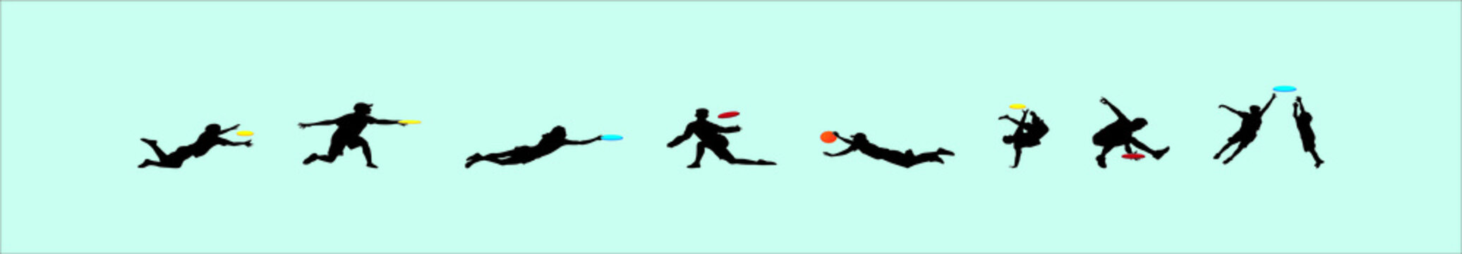 Man playing outdoor beach game vector silhouette illustration isolated on white background. Throwing flying disk. catch game toy. Frisbee sport.
