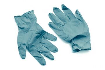 Covid-19 disposable contaminated gloves. Coronavirus latex plastic rubbish