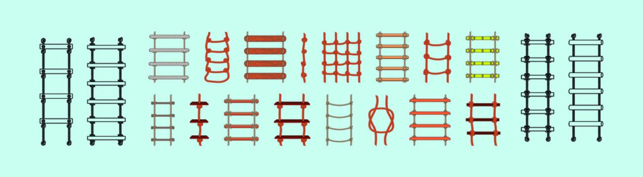 set of rope ladder with various model. vector illustration on blue background