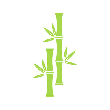 Icon of bamboo tree with leaves. Vector symbol, logo in green colour.