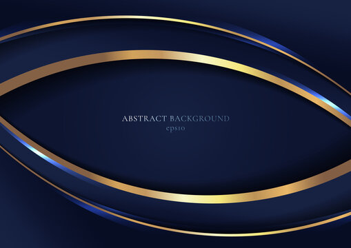 Abstract elegant blue curved geometric overlap layers with stripe golden line and lighting on dark blue background