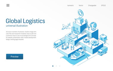 Global Logistics. Business people teamwork. Import or export modern isometric line illustration. Transport, shipping, delivery, distribution icon. 3d vector background. Growth step infographic concept