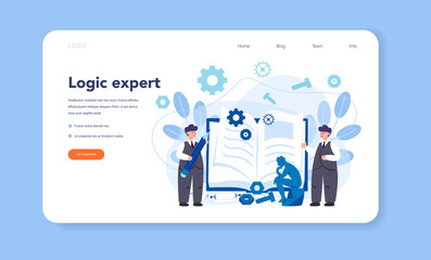 Logician web banner or landing page. Scientist systematicly study