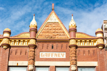 Guthrie, Oklahoma, United States of America - January 19, 2017.  Element of exterior design of J.B. Beadles building in Guthrie, OK.