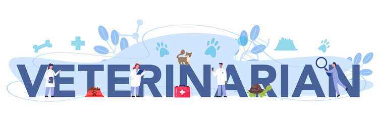 Pet veterinarian typographic header. Veterinary doctor checking