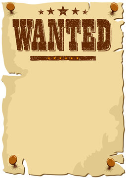 Cartoon WANTED Poster, Wild West template, with copy space for your text