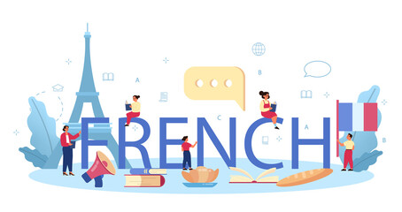 French typographic header. Language school french course. Study