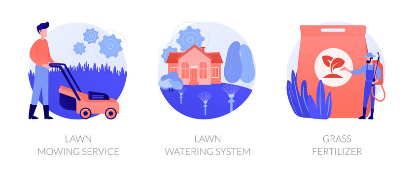 Gardening services abstract concept vector illustration set. Lawn mowing service, lawn watering system, grass fertilizer, aeration and weeding, dandelion removal, irrigation abstract metaphor.