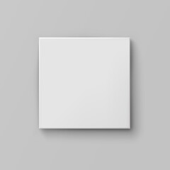 Box mock up top view with shadow isolated on grey background. White 3d closed container package template. Vector blank picture canvas, wall display, poster or banner
