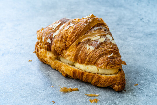 Fresh Baked Croissant with Almond Cream. Ready to Serve.