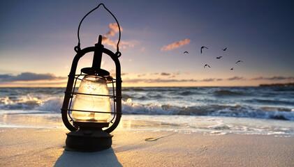 Fotomurales - Laterne am Meer