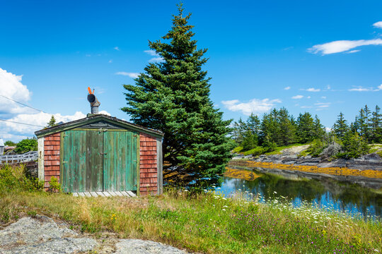 Shed in the Rural Countryside of Nova Scotia -  A shed or boat house in the rural countryside of Nova Scotia near to the coast of the Atlantic Ocean