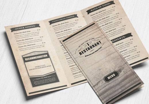 Vintage Food Menu Trifold