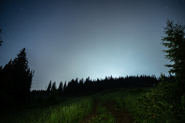 Moonlit foggy night in the mountains in summer
