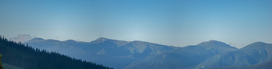 Panorama of a mountain range in the Carpathian mountains