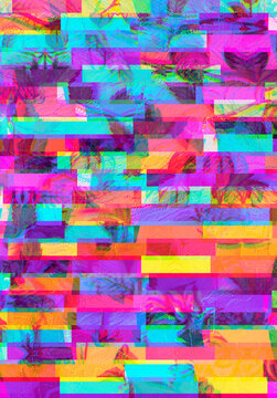Colorful, vibrant and funky, abstract glitch cannabis/marijuana background collage with copyspace