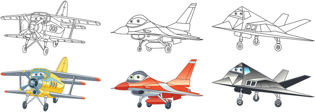 Coloring pages for kids. Colorful airplanes collection.