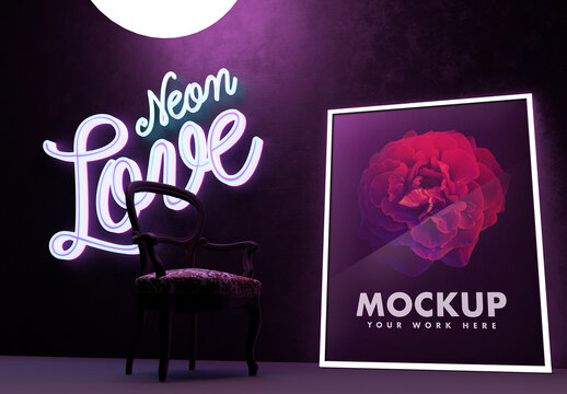 Beautiful and Bright Poster in Night Club Mockup