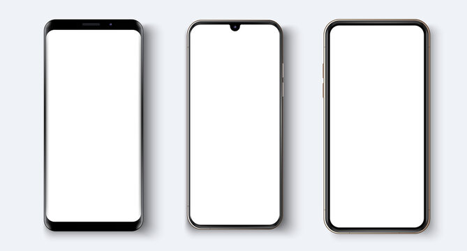 Realistic white vector smartphone. Various smartphone models.  3d realistic phone template for inserting any UI/UX interface test or business presentation. Isolated vector illustration