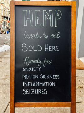 Hemp Treats for Dogs Sign