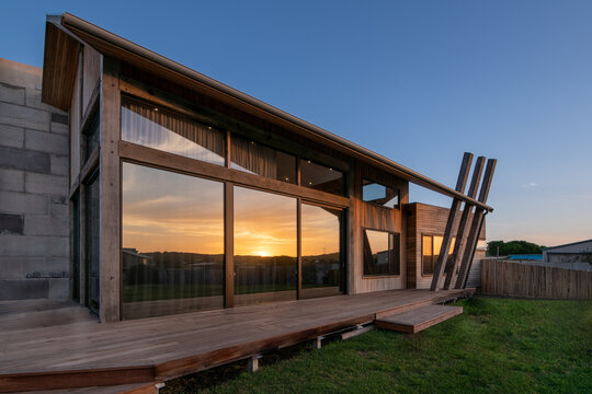 Exterior of luxury home built using recycled timber products