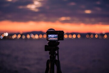 time lapse sunset over the city Fotobehang