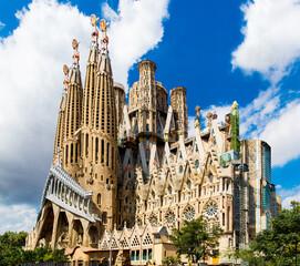 Foto op Canvas Barcelona Barcelona, Spain, September 20, 2019. The Sagrada Familia, is a huge Roman Catholic basilica in Barcelona, Spain designed by Antoni Gaudi and is a UNESCO World Heritage Site.