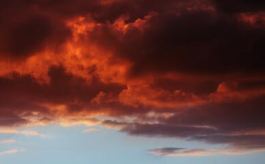 Foto auf Leinwand Braun Twilight colorful sky and clouds