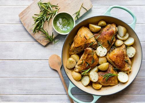 Roast chicken and potato casserole with rosemary