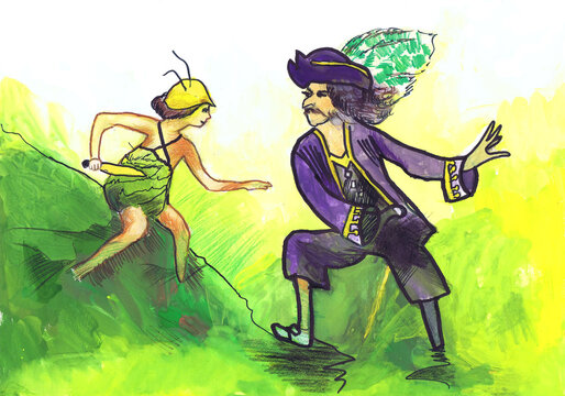 Peter Pan and Captain Hook. Illustration for the fairy tale by James Matthew Barry. Children's drawing