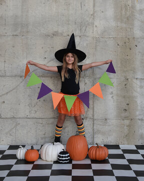 Halloween Party Girl Holding Pennant