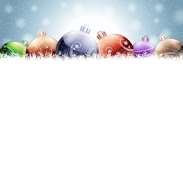 Vector Christmas Card with bubbles ans snow.