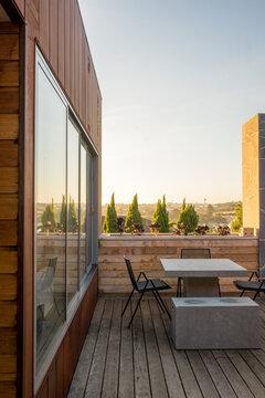 Beautiful sunset on balcony of luxury architect designed home