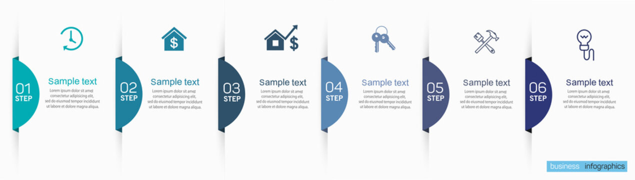 Business infographics design template with 6 options and number, steps or processes. Data visualization. Vector illustration