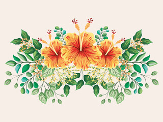 yellow and red hawaiian flowers with leaves painting design, natural floral nature plant ornament garden decoration and botany theme Vector illustration