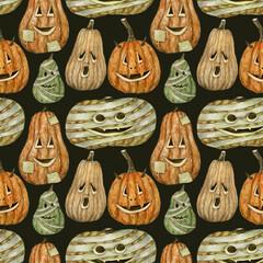 Halloween pumpkins seamless background on dark