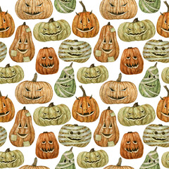 Watercolor hand painted seamless pattern with Halloween pumpkins on white