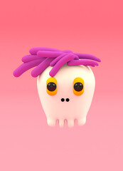 A little ghost with pink hair on pink background