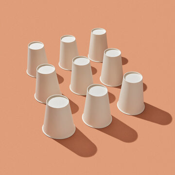 Square paper cups set.