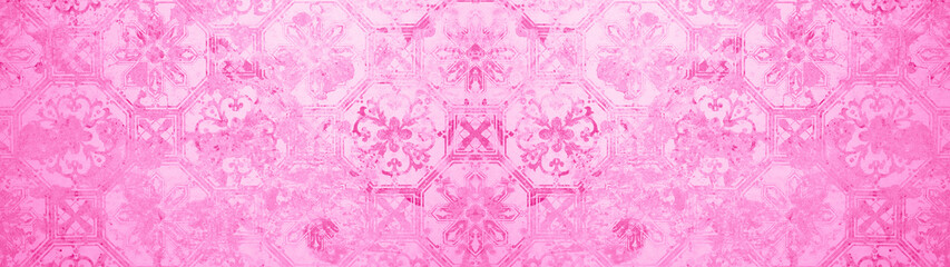 old grunge vintage cement texture with pink magenta white floral hexagon seamless pattern print...