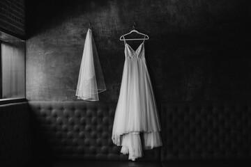 Moody Black and White Wedding Dress Photo