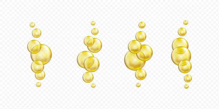 Golden glass ball collection. Serum droplet set, gold oil bubble.