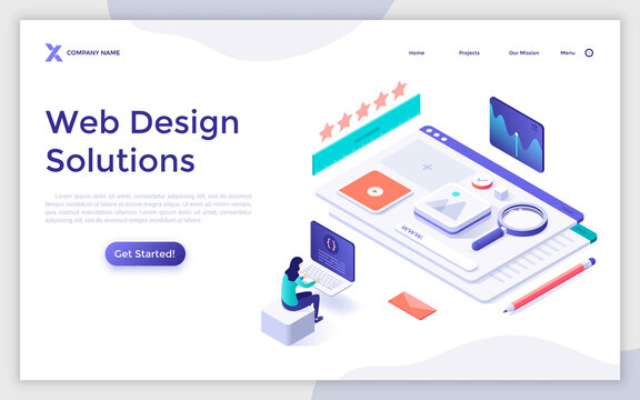 Isometric Landing Page Concept