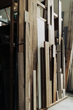 Stacked wood supply for carpentry work.
