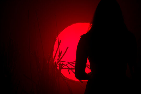 Female silhouette on a background of red neon light