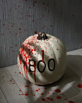 Scary Boo Pumpkin with Paint Splatter