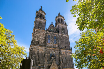 Facade of Magdeburg Cathedral in Magdeburg, Saxony Anhalt, Germany